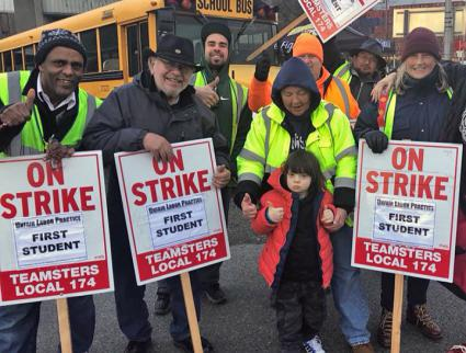 Seattle school bus drivers on the picket line (Teamsters         Local 174)