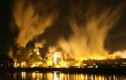 Air pollution rising from an industrial complex