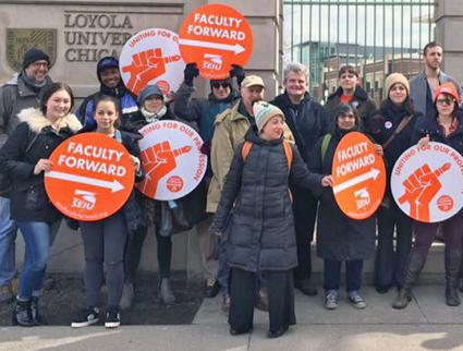 Adjunct faculty members rally for dignity on the job at Loyola University Chicago  (SEIU Local 73 | Facebook)