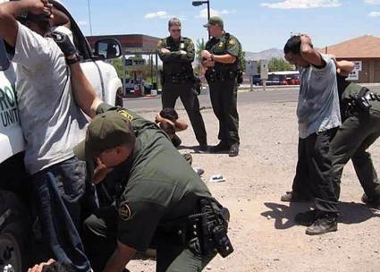 U.S. Border Patrol agents detain a group of men in Southern Texas