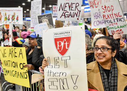 Philadelphians converge at the airport to resist the President's Muslim ban (Joe Piette | flickr)
