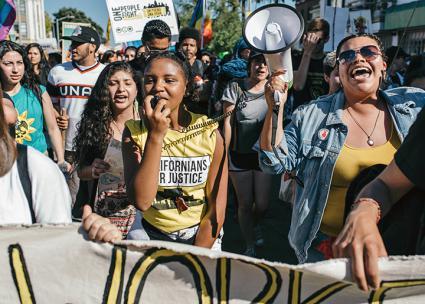On the march in Oakland, California (Annette Bernhardt)