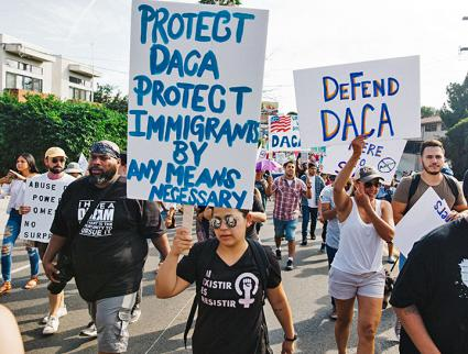 Protesters take to the streets of Los Angeles in defense of DACA and immigrant rights (Molly Adams | flickr)