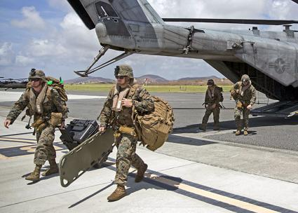 U.S. Marines land in Puerto Rico in the aftermath of Hurricane Maria (Ryre Arciaga | flickr)
