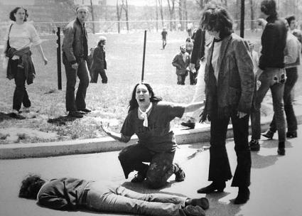 National Guard soldiers massacre students protesting the Vietnam War at Kent State (John Paul Filo | Wikimedia Commons)
