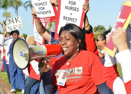 Striking nurses build solidarity on the picket line (National Nurses United | Facebook)