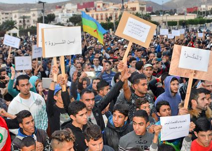 Thousands rally in the city center of al-Hoceima in Morocco