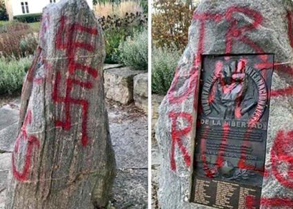 A memorial to the Abraham Lincoln Brigade defaced in Madison