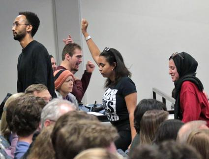 Students protest right-wing speaker Ann Coulter at the University of Colorado Boulder (Bri Barnum | CU Independent)