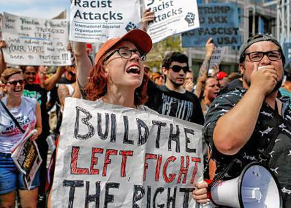 Socialists on the march against the right in Boston (Sarah Crosby | Daily Hampshire Gazette)