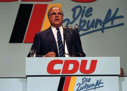 Then German Chancellor Helmut Kohl addresses a party conference of the Christian Democratic Union (Lothar Schaack | Wikimedia Commons)
