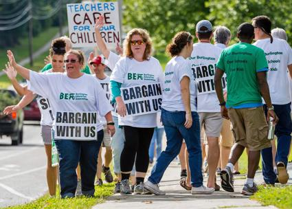 Burlington teachers walk the picket line (Burlington Education Association)
