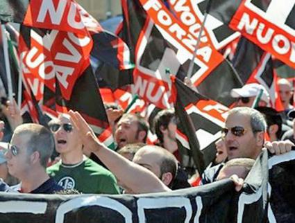 Members of the Italian fascist group Forza Nuova march through Milan