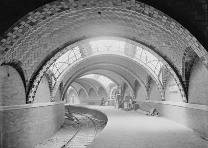 The City Hall station of the New York City subway system opened in 1904