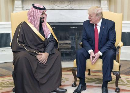 Crown Prince Mohammad bin Salman with Donald Trump in the White House (Shealah Craighead | Wikimedia Commons)