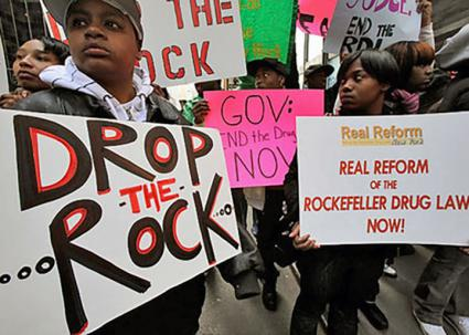 Protesters demand repeal of the Rockefeller drug laws in New York (Families Against Mandatory Minimums)