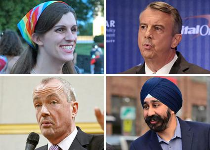 Clockwise from top left: Virginia House of Delegate member Danica Roem, Virginia Gov. Ralph Northam, Hoboken Mayor Ravi Bhalla, New Jersey Gov. Phil Murphy