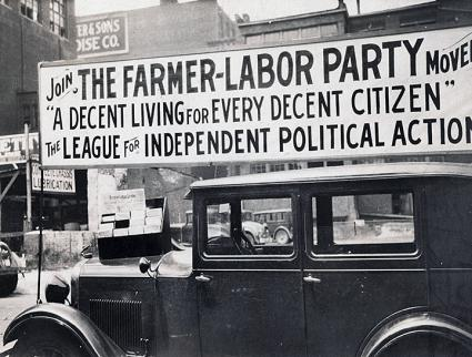 A recruiting banner for the Minnesota Farmer-Labor Party