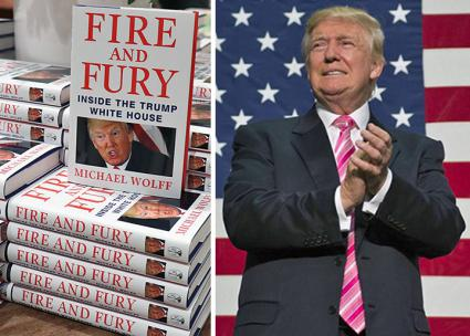 Left to right: Michael Wolff's Fire and Fury; Donald Trump