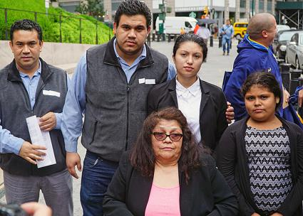 The family of Eber Garcia Vasquez protests his deportation in New York City (Teamsters Joint Council 16)