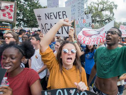 Protesting students from Marjory Stoneman Douglas High School