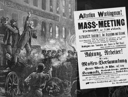 A magazine drawing of Haymarket; inset: A leaflet for the meeting