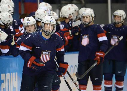 The U.S.A. Women's Hockey squad takes the ice
