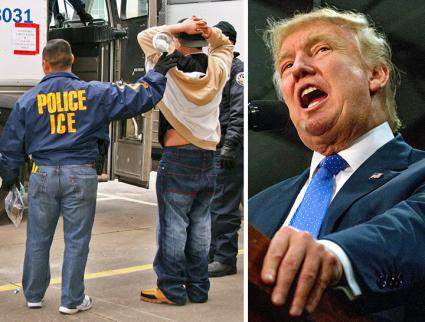 Left to right: ICE agents carry out an arrest; Donald Trump