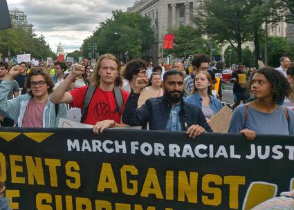 A student contingent at the March for Racial Justice (Mike Stark | SW)