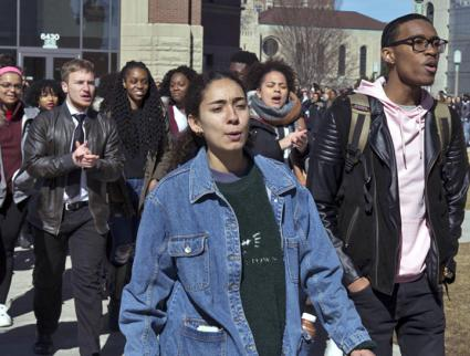 Student activists protest police brutality on the campus of Loyola University Chicago (Christopher Hacker | The Phoenix)