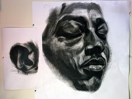 Sarah Levy's towering portrait of Kalief Browder in the Morbid Symptoms exhibition