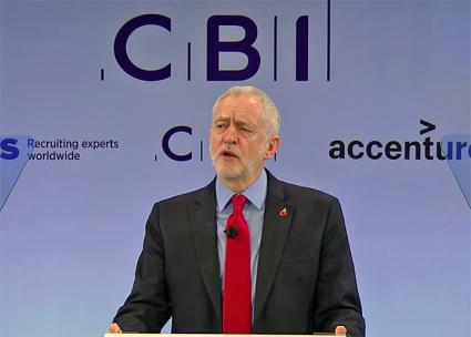 Labour Party leader Jeremy Corbyn addresses the Confederation of British Industry