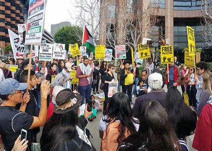 Solidarity activists in Los Angeles rally for Palestinian political prisoner Ahed Tamimi (Abby Mahmoud Zowidi | LA4Palestine)