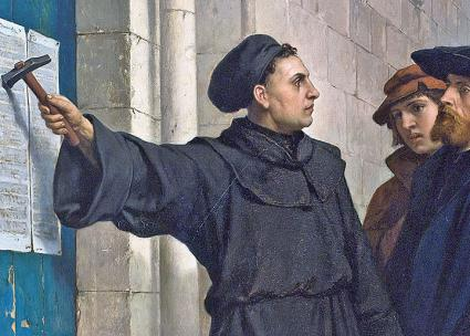 A depiction of Martin Luther posting his Ninety-Five Theses (Ferdinand Pauwels)