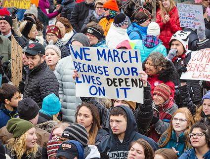 Students and community members protest gun violence in Madison, Wisconsin (depthandtime | flickr)