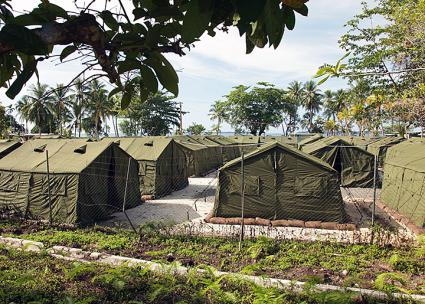 The Australian-owned Manus Island detention center in Papua New Guinea (DIAC images | Wikimedia Commons)