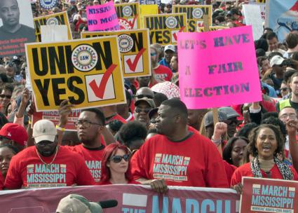 Autoworkers and their supporters march for the union in Mississippi (UAW)