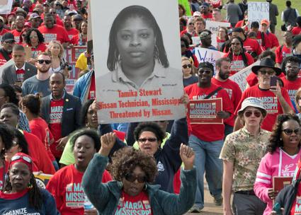On the march in Mississippi in support of the UAW unionization campaign (UAW)