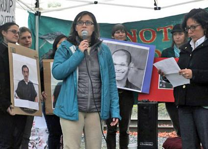 Maru Mora-Villalpando speaks at a protest outside the Northwest Detention Center