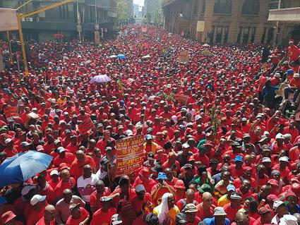 Thousands of workers take to the streets of Johannesburg, South Africa, to protest anti-labor reforms  (SAFTU | Facebook)
