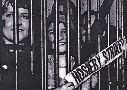 Striking hosiery workers behind bars in 1930s Philadelphia (Historical Society of Pennsylvania)