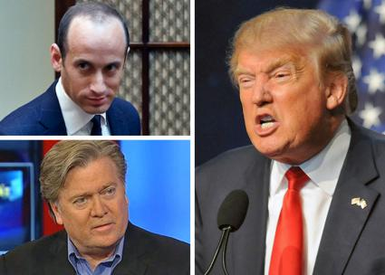 Clockwise from top left: Stephen Miller, Donald Trump and Steve Bannon