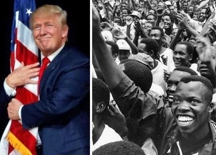 Left: Donald Trump; right: Angola's national liberation struggle