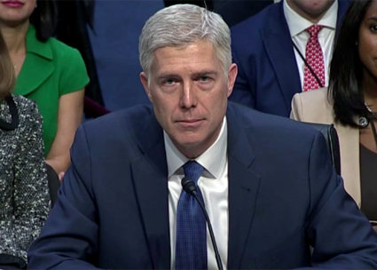 Trump's Supreme Court nominee Neil Gorsuch at his Senate confirmation hearing (C-Span | Wikimedia Commons)