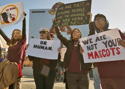 Native rights supporters protest the Washington football team mascot (Fibonacci Blue)