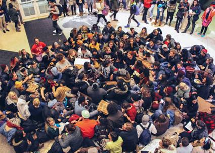 Occupying Baker University Center over the demand to make Ohio University a sanctuary campus (Tess Hickey)