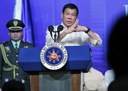 Philippines President Rodrigo Duterte addresses reporters during a press conference (JaLozano | Wikimedia Commons)