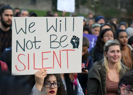 At Syracuse University, hundreds of students walked out of classes to protest Trump's election (Sam Ogozalek | The Daily Orange)