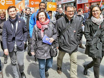 Candidates of Québec solidaire join demonstrations in Montréal on International Workers' Day (Québec solidaire | Facebook)