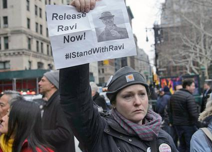 Protesters demand the release of prominent immigrant rights activist Ravi Ragbir in NYC